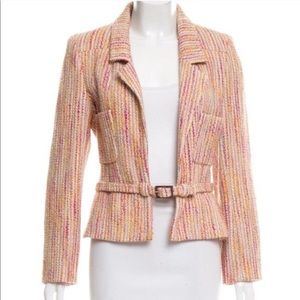 Chanel Jacket Tweed Blazer Belted Stripe 36 Pink
